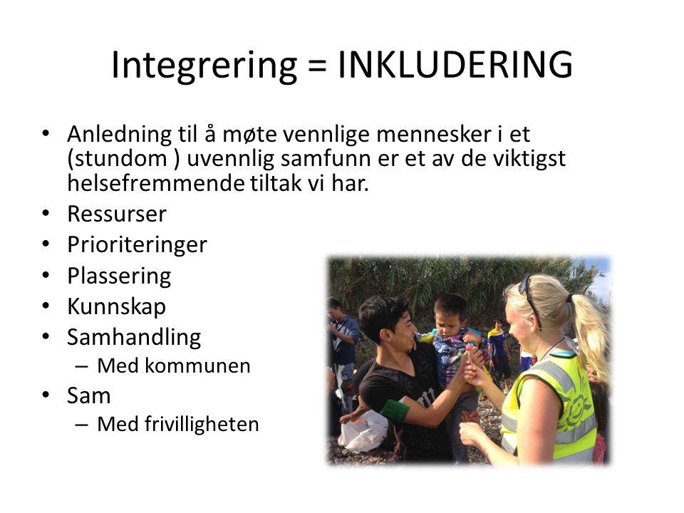 Integrering = INKLUDERING Anledning til å møte vennlige mennesker i et (stundom ) uvennlig samfunn er et av de viktigst helsefremmende tiltak vi har.