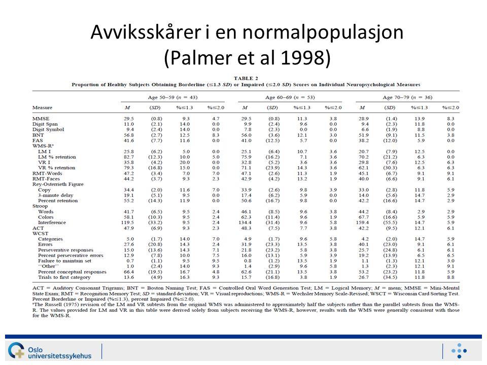 Avviksskårer i en normalpopulasjon (Palmer et al 1998)