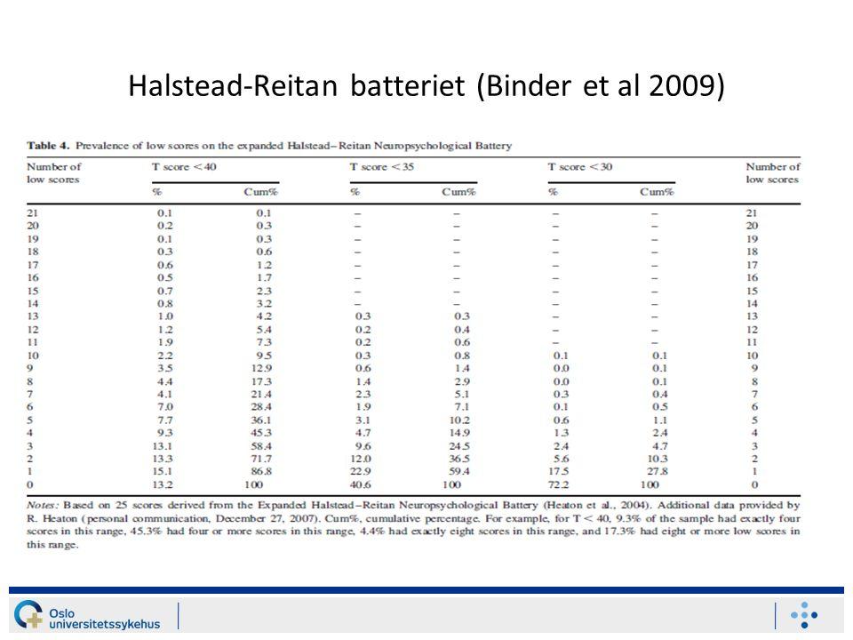 Halstead-Reitan batteriet (Binder et al 2009)