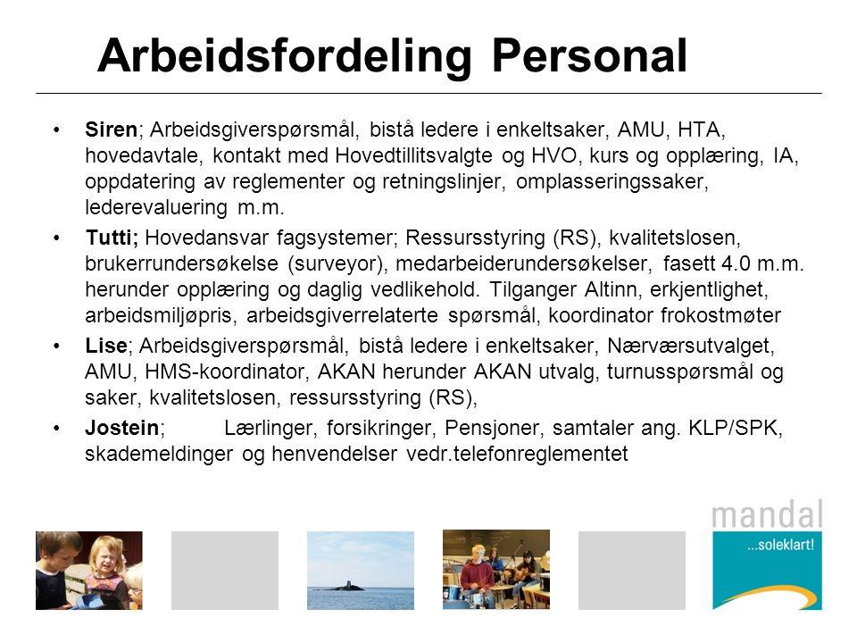 Arbeidsfordeling Personal Siren; Arbeidsgiverspørsmål, bistå ledere i enkeltsaker, AMU, HTA, hovedavtale, kontakt med Hovedtillitsvalgte og HVO, kurs og opplæring, IA, oppdatering av reglementer og retningslinjer, omplasseringssaker, lederevaluering m.m.
