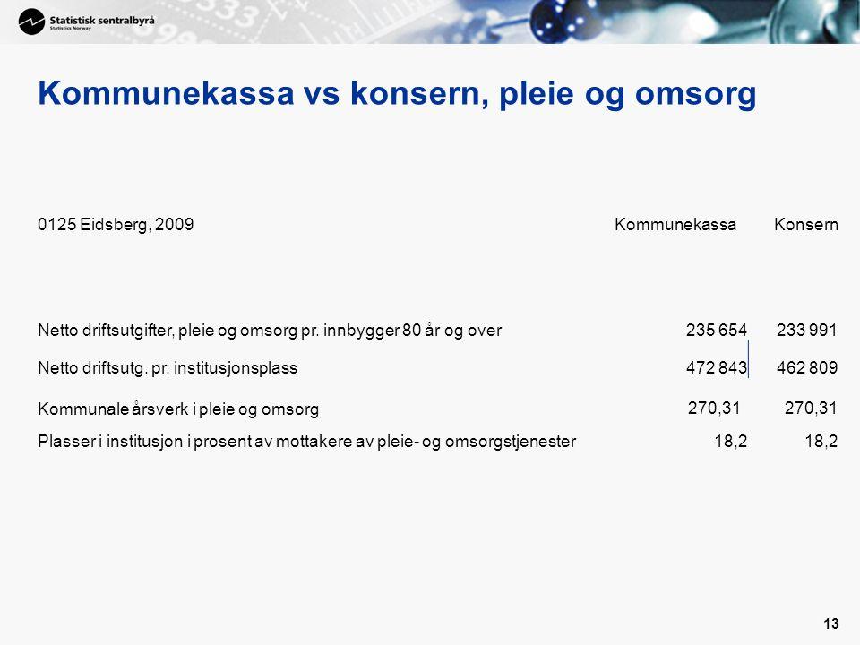13 Kommunekassa vs konsern, pleie og omsorg 0125 Eidsberg, 2009KommunekassaKonsern Netto driftsutgifter, pleie og omsorg pr.