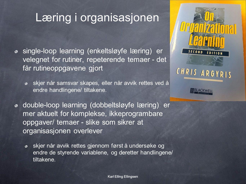 Læring i organisasjonen single-loop learning (enkeltsløyfe læring) er velegnet for rutiner, repeterende temaer - det får rutineoppgavene gjort skjer når samsvar skapes, eller når avvik rettes ved å endre handlingene/ tiltakene.