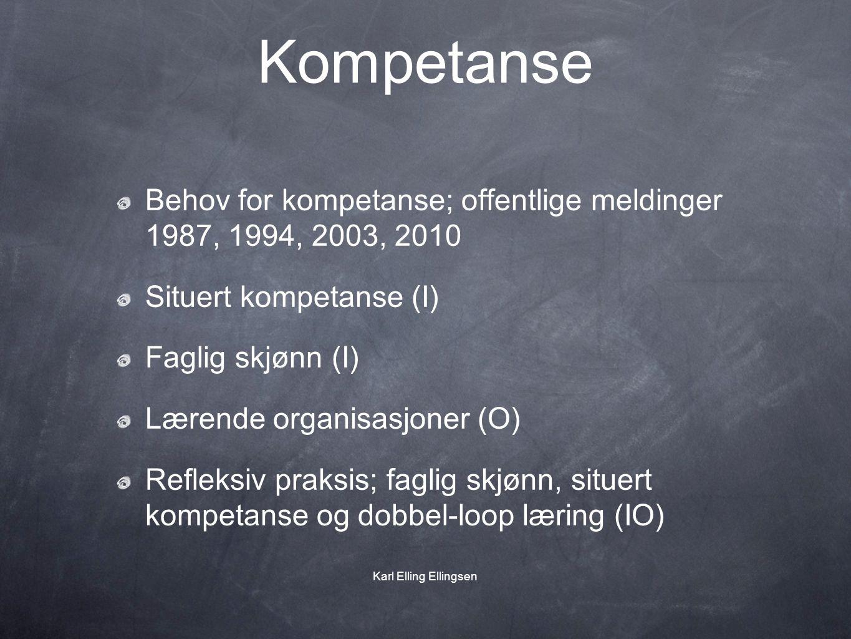 Kompetanse Behov for kompetanse; offentlige meldinger 1987, 1994, 2003, 2010 Situert kompetanse (I) Faglig skjønn (I) Lærende organisasjoner (O) Refle