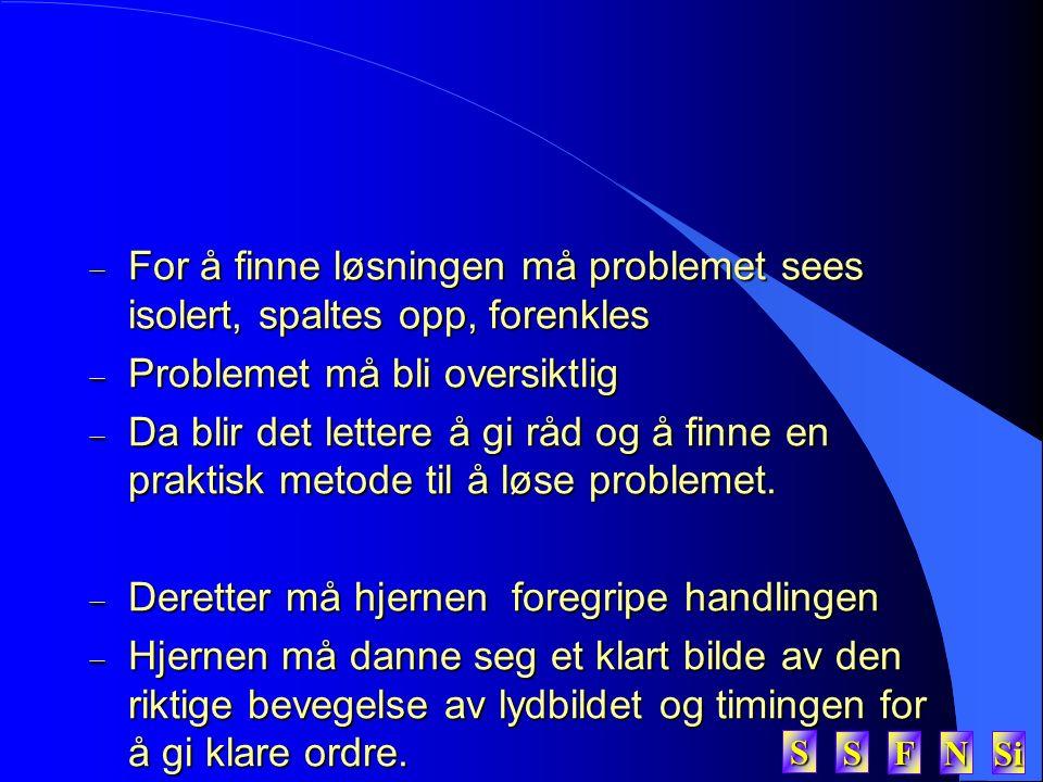 SSSS FFFF NNNN Si SSSS  For å finne løsningen må problemet sees isolert, spaltes opp, forenkles  Problemet må bli oversiktlig  Da blir det lettere å gi råd og å finne en praktisk metode til å løse problemet.