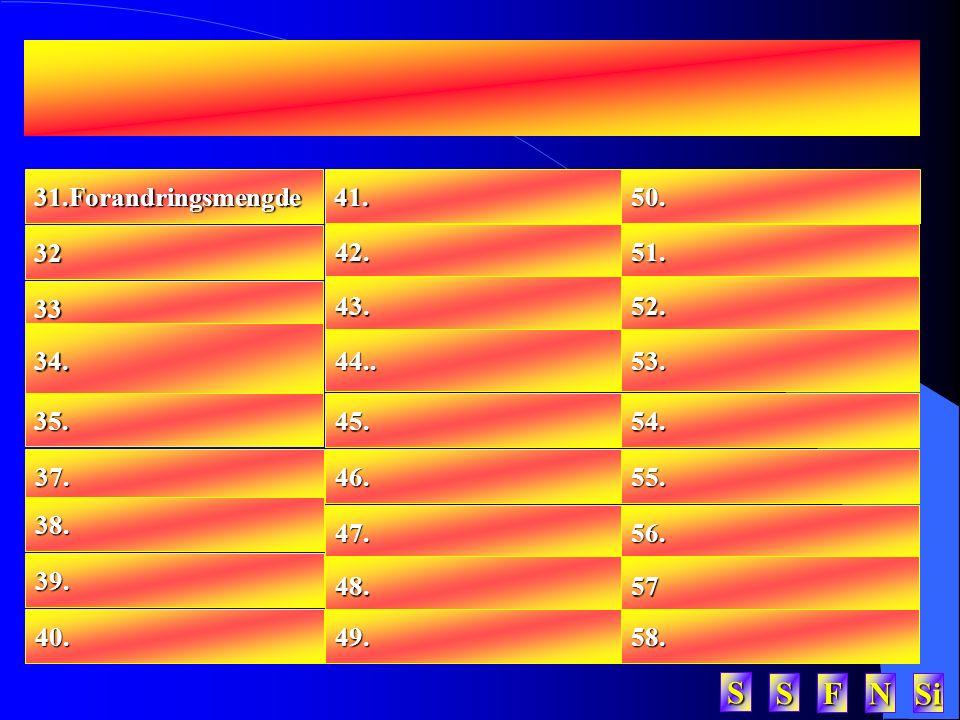 SSSS FFFF NNNN Si SSSS 37. 46. 31.Forandringsmengde 38. 42. 47. 32 39. 43. 33 40. 44.. 34. 41. 45. 35. 48. 49. 55. 51. 56. 52. 53. 50. 54. 57 58.
