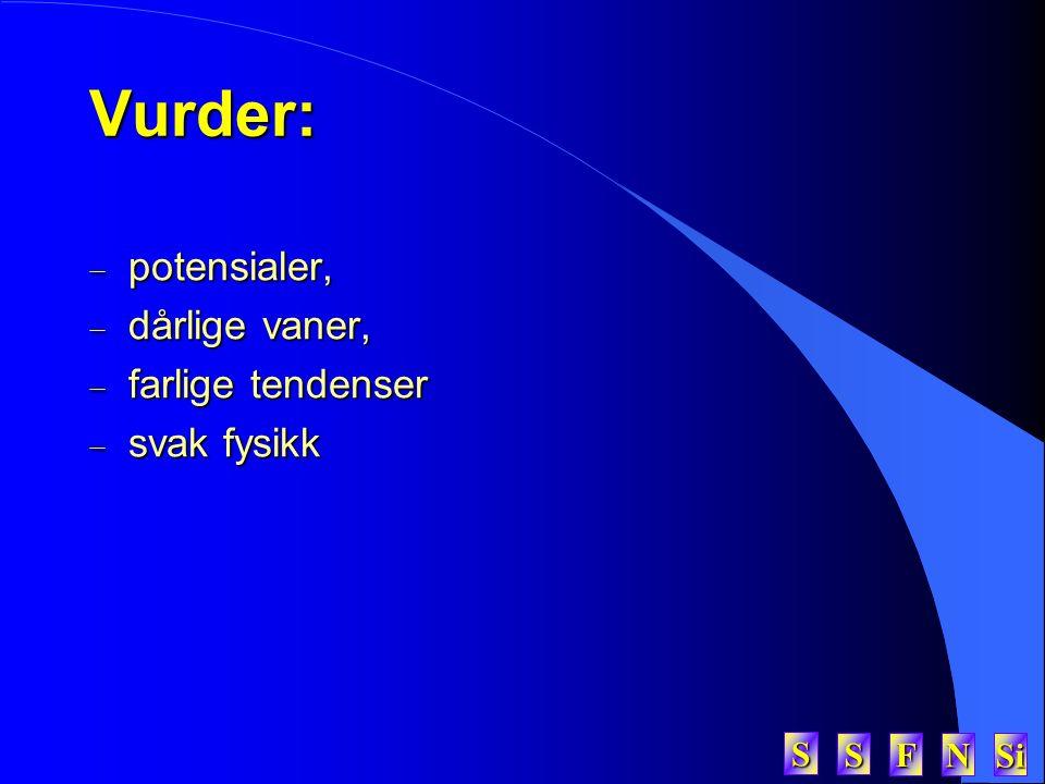 SSSS FFFF NNNN Si SSSSVurder:  potensialer,  dårlige vaner,  farlige tendenser  svak fysikk
