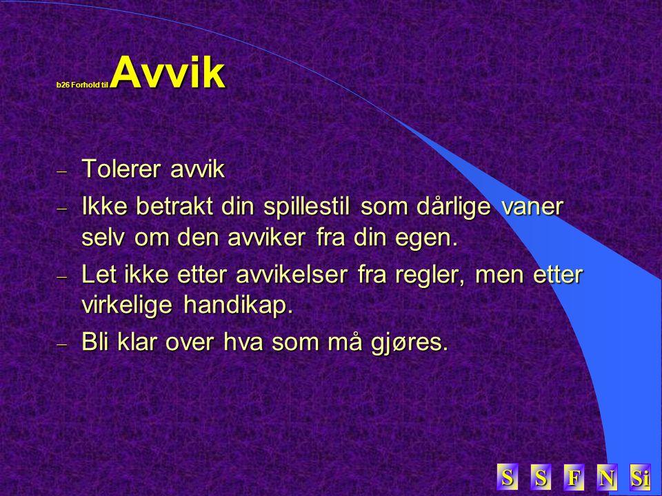 SSSS FFFF NNNN Si SSSS b26 Forhold til Avvik  Tolerer avvik  Ikke betrakt din spillestil som dårlige vaner selv om den avviker fra din egen.  Let i