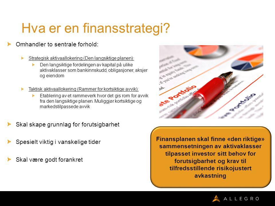 Valg av aktivaklasser Det er vanlig å dele investeringsuniverset opp i aktivaklasser.