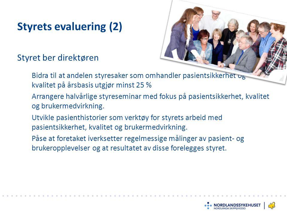 Styret ber direktøren Styrets evaluering (2) Bidra til at andelen styresaker som omhandler pasientsikkerhet og kvalitet på årsbasis utgjør minst 25 % Arrangere halvårlige styreseminar med fokus på pasientsikkerhet, kvalitet og brukermedvirkning.