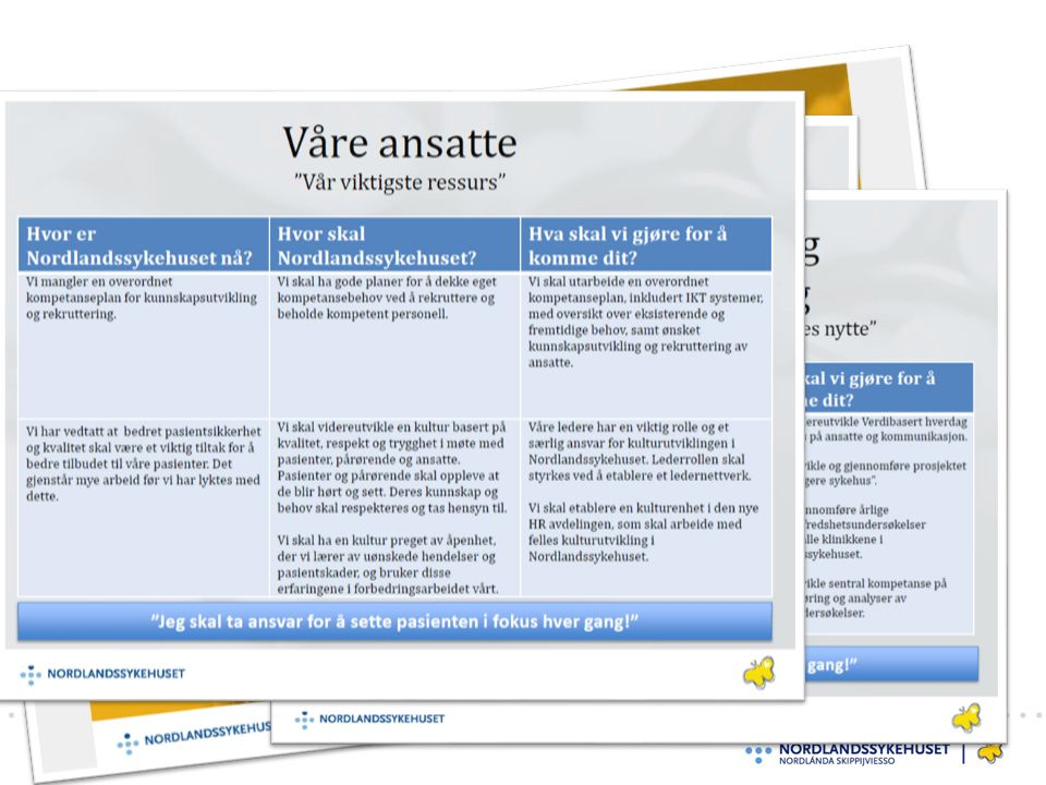 Del fakta og pasienthistorier Pasienthistorie som første sak på dagsorden til hvert styremøte Faktagrunnlag og fortellinger må evalueres
