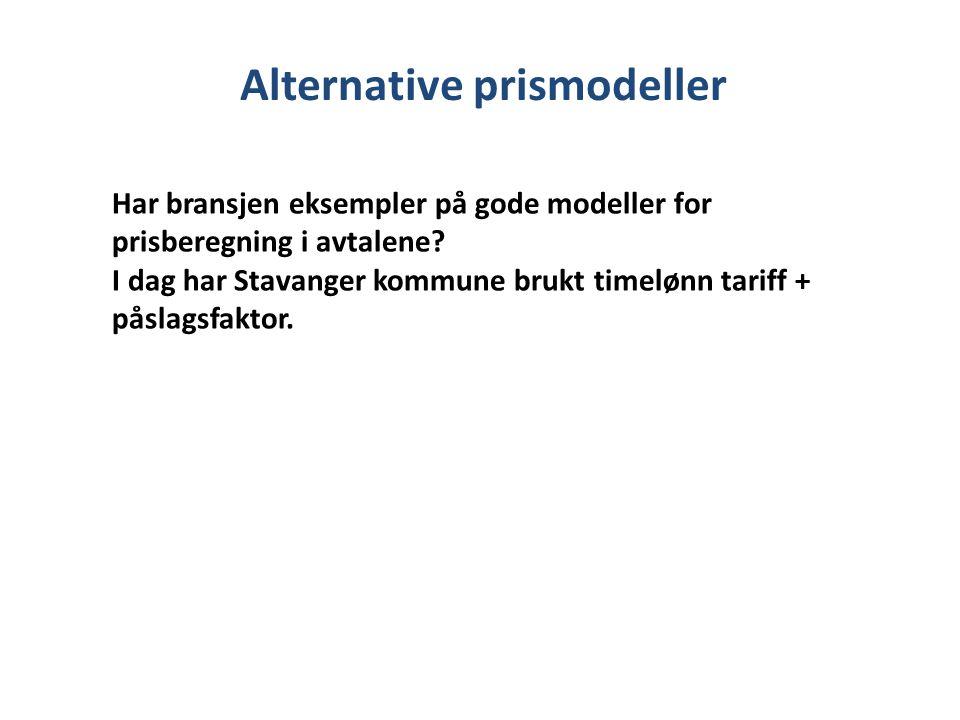 Alternative prismodeller Har bransjen eksempler på gode modeller for prisberegning i avtalene.