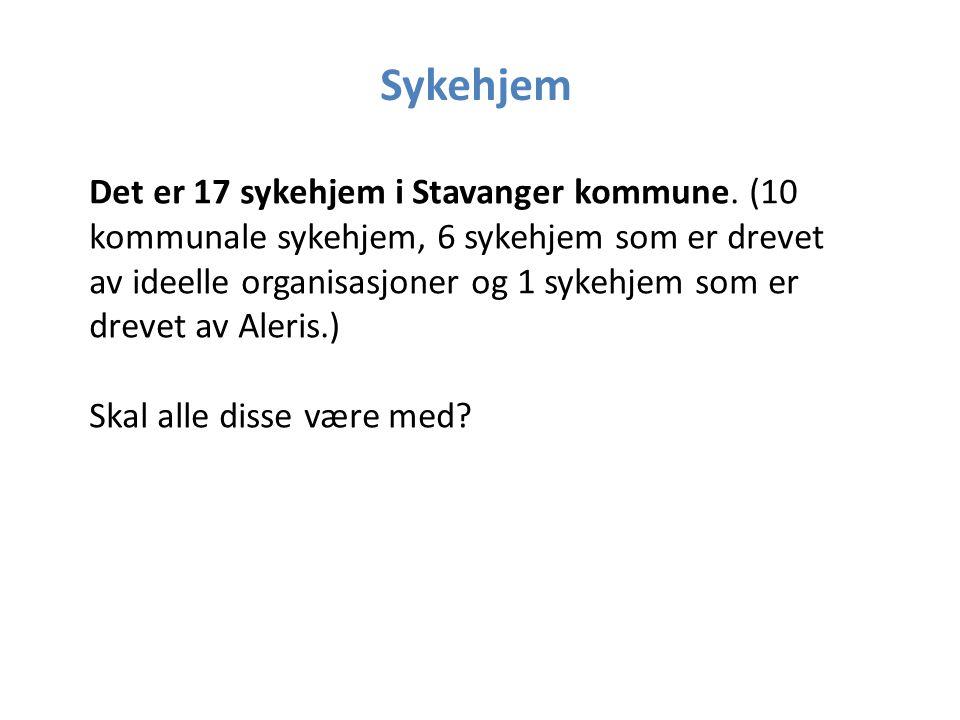 Sykehjem Det er 17 sykehjem i Stavanger kommune.
