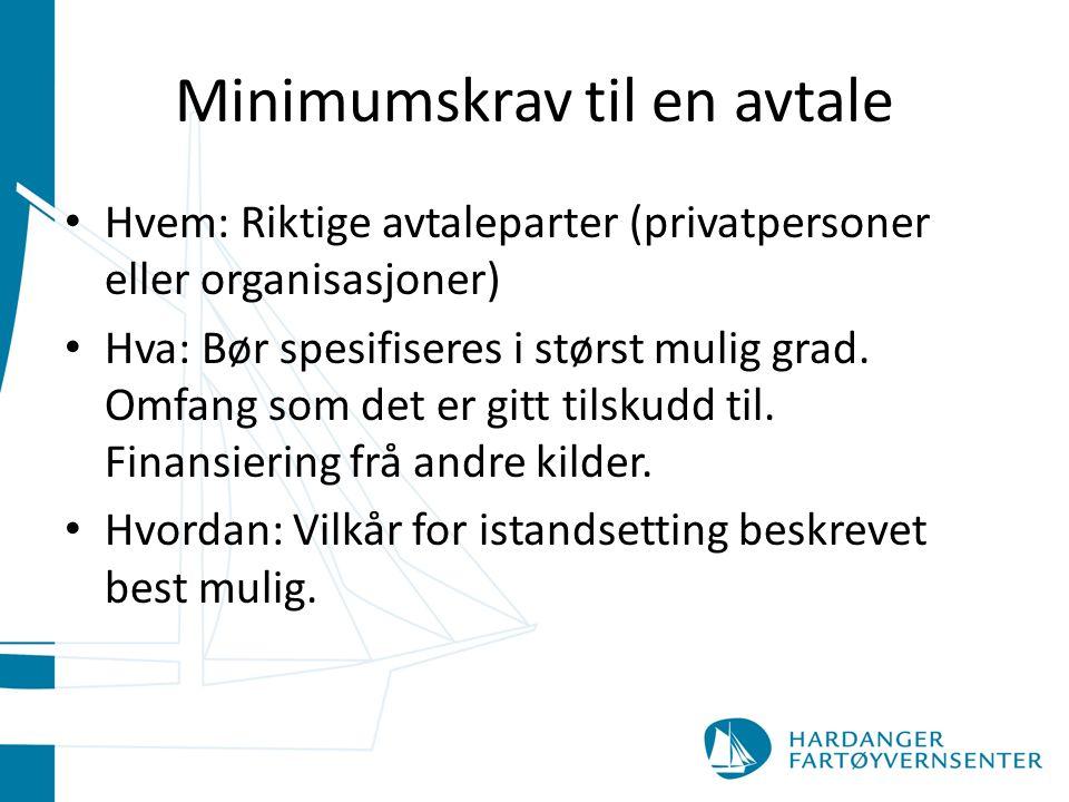 Minimumskrav til en avtale Hvem: Riktige avtaleparter (privatpersoner eller organisasjoner) Hva: Bør spesifiseres i størst mulig grad.