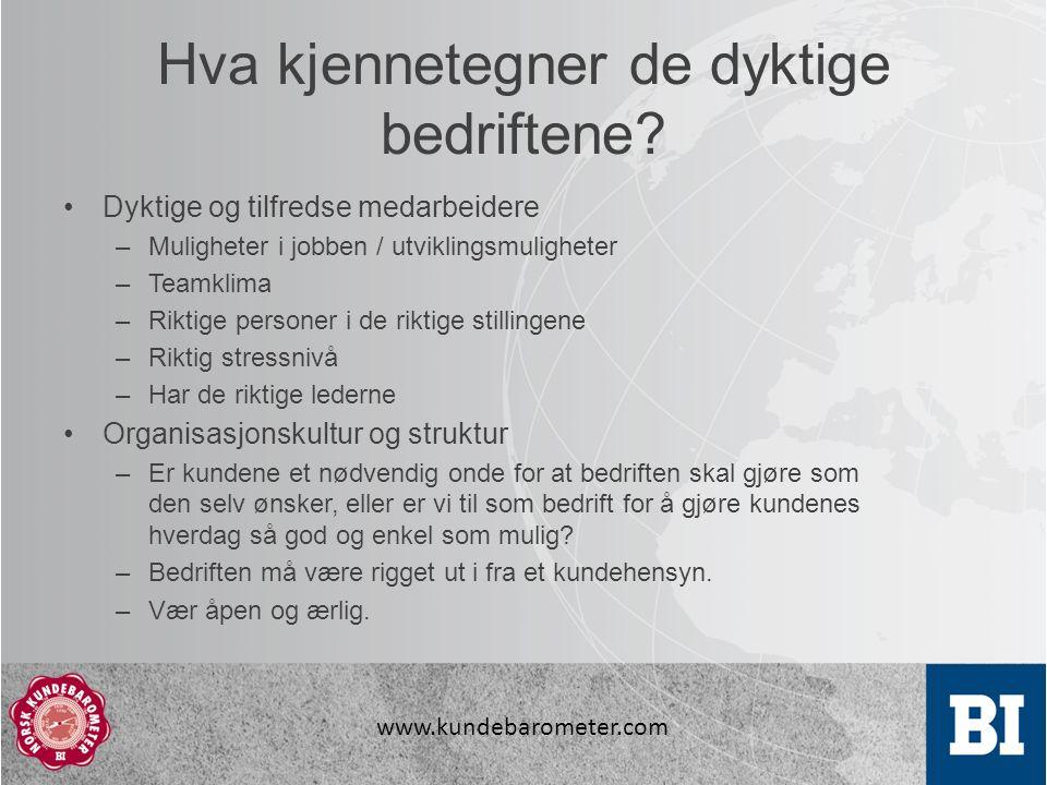www.kundebarometer.com Hva kjennetegner de dyktige bedriftene.