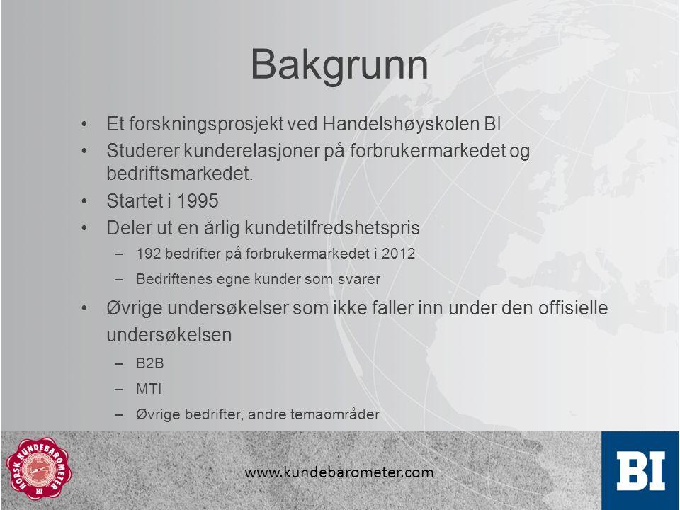 www.kundebarometer.com Bakgrunn Et forskningsprosjekt ved Handelshøyskolen BI Studerer kunderelasjoner på forbrukermarkedet og bedriftsmarkedet.