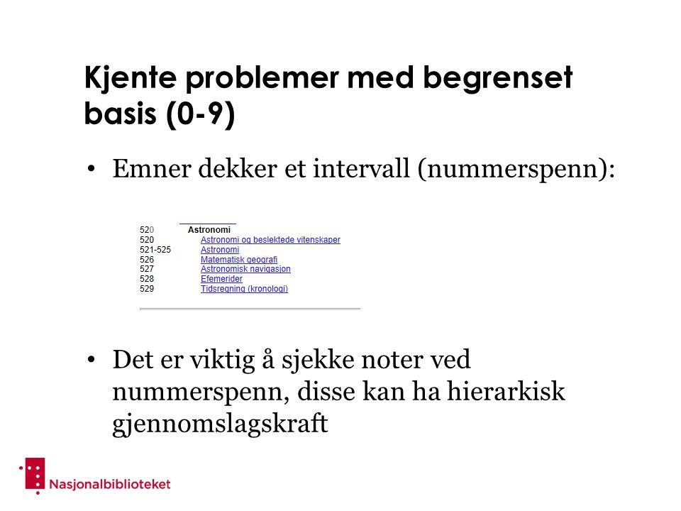 Kjente problemer med begrenset basis (0-9) Emner dekker et intervall (nummerspenn): Det er viktig å sjekke noter ved nummerspenn, disse kan ha hierarkisk gjennomslagskraft