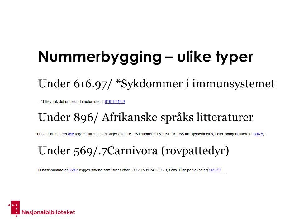 Nummerbygging – ulike typer Under 616.97/ *Sykdommer i immunsystemet Under 896/ Afrikanske språks litteraturer Under 569/.7Carnivora (rovpattedyr)