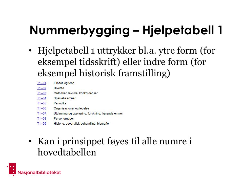 Nummerbygging – Hjelpetabell 1 Hjelpetabell 1 uttrykker bl.a.