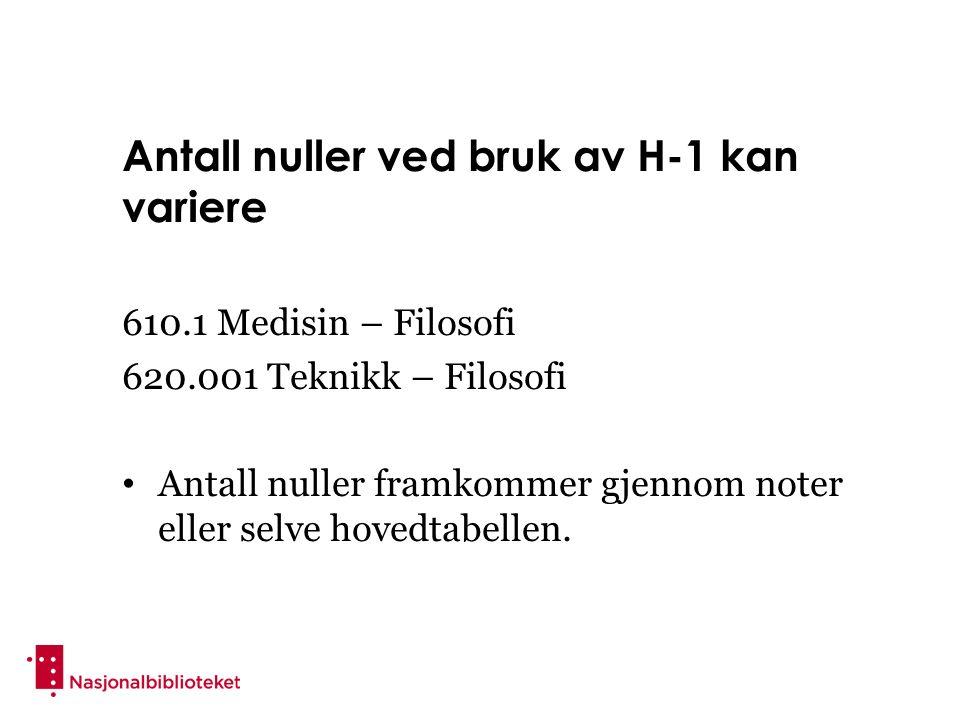 Antall nuller ved bruk av H-1 kan variere 610.1 Medisin – Filosofi 620.001 Teknikk – Filosofi Antall nuller framkommer gjennom noter eller selve hovedtabellen.