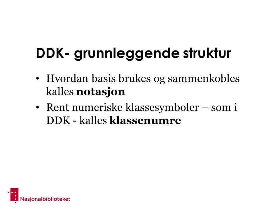 DDK- grunnleggende struktur Hvordan basis brukes og sammenkobles kalles notasjon Rent numeriske klassesymboler – som i DDK - kalles klassenumre