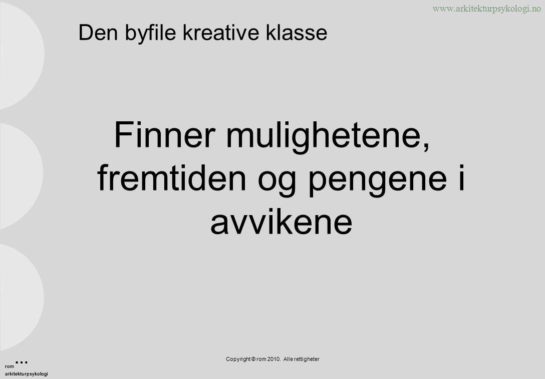 www.arkitekturpsykologi.no Den byfile kreative klasse Finner mulighetene, fremtiden og pengene i avvikene Copyright © rom 2010.