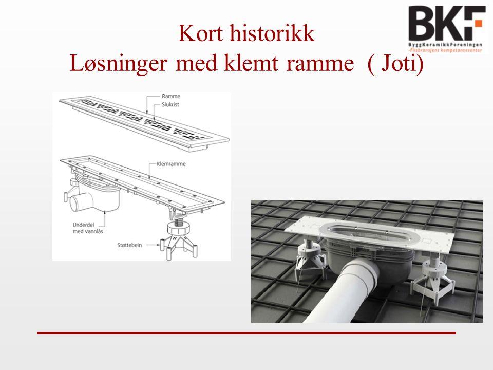 Kort historikk Løsninger med klemt ramme ( Joti)