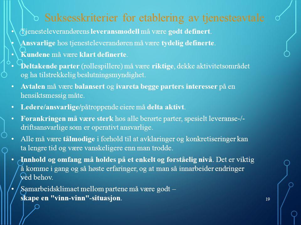 19 Suksesskriterier for etablering av tjenesteavtale Tjenesteleverandørens leveransmodell må være godt definert.