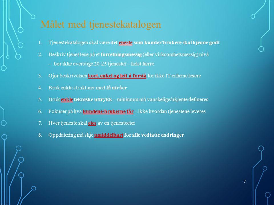 18 Støttesystemer kan være: Service Management system Overvåkingssystem Telefonisystem CTI Fjernstyring E-post CRM CMS – Configuration Management System (som skal styre CMDB) CMDB Discovery-systemer Endringskalender Known Error Database (KEDB) Varslingssystemer Rapporteringssystemer Kunnskapsdatabase Kvalitetssystem