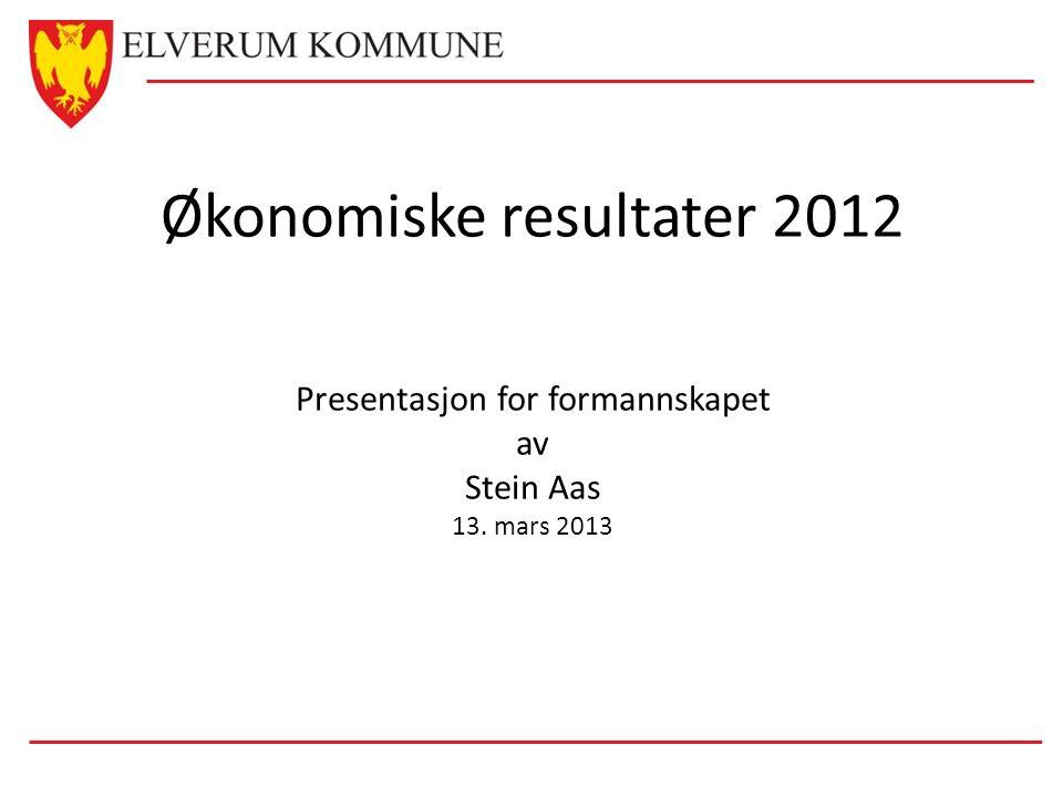 Økonomiske resultater 2012 Presentasjon for formannskapet av Stein Aas 13. mars 2013
