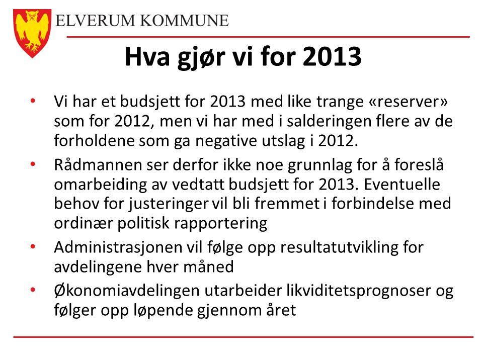 Hva gjør vi for 2013 Vi har et budsjett for 2013 med like trange «reserver» som for 2012, men vi har med i salderingen flere av de forholdene som ga negative utslag i 2012.