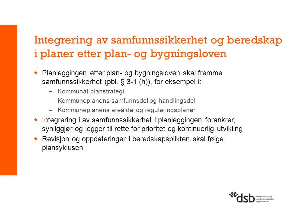 Integrering av samfunnssikkerhet og beredskap i planer etter plan- og bygningsloven  Planleggingen etter plan- og bygningsloven skal fremme samfunnssikkerhet (pbl.