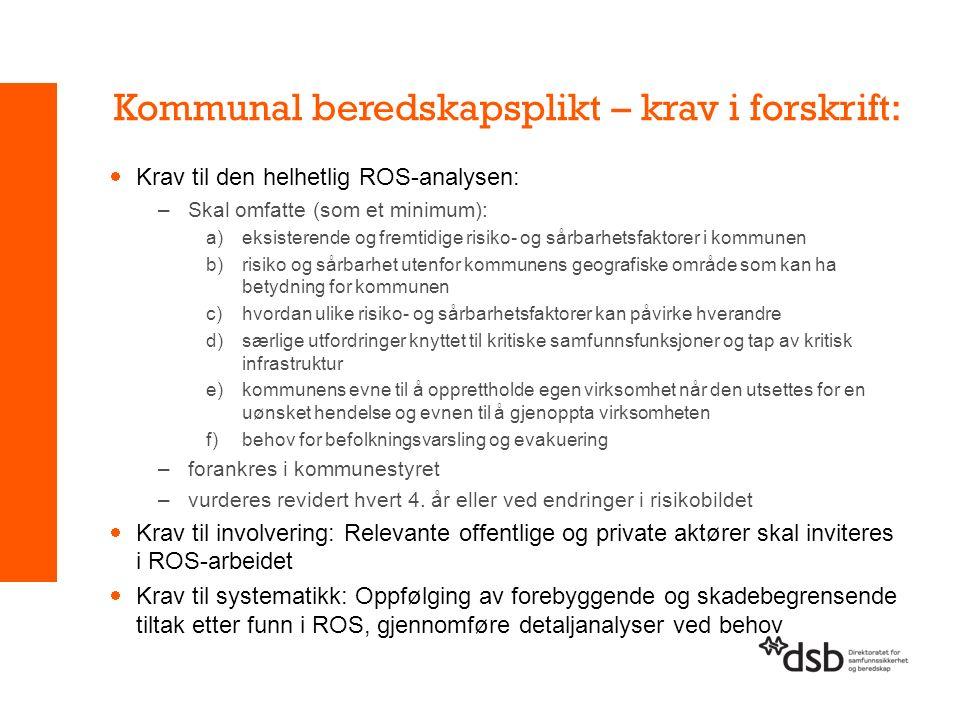 Kommunal beredskapsplikt – krav i forskrift:  Krav til den helhetlig ROS-analysen: –Skal omfatte (som et minimum): a)eksisterende og fremtidige risik