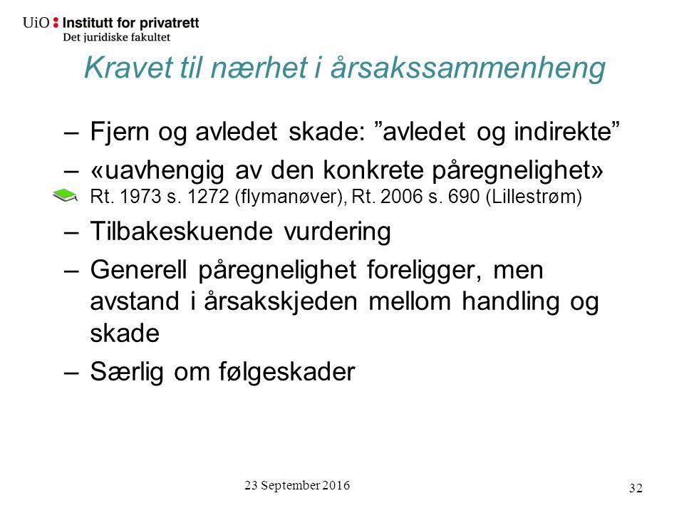 23 September 2016 32 –Fjern og avledet skade: avledet og indirekte –«uavhengig av den konkrete påregnelighet» Rt.