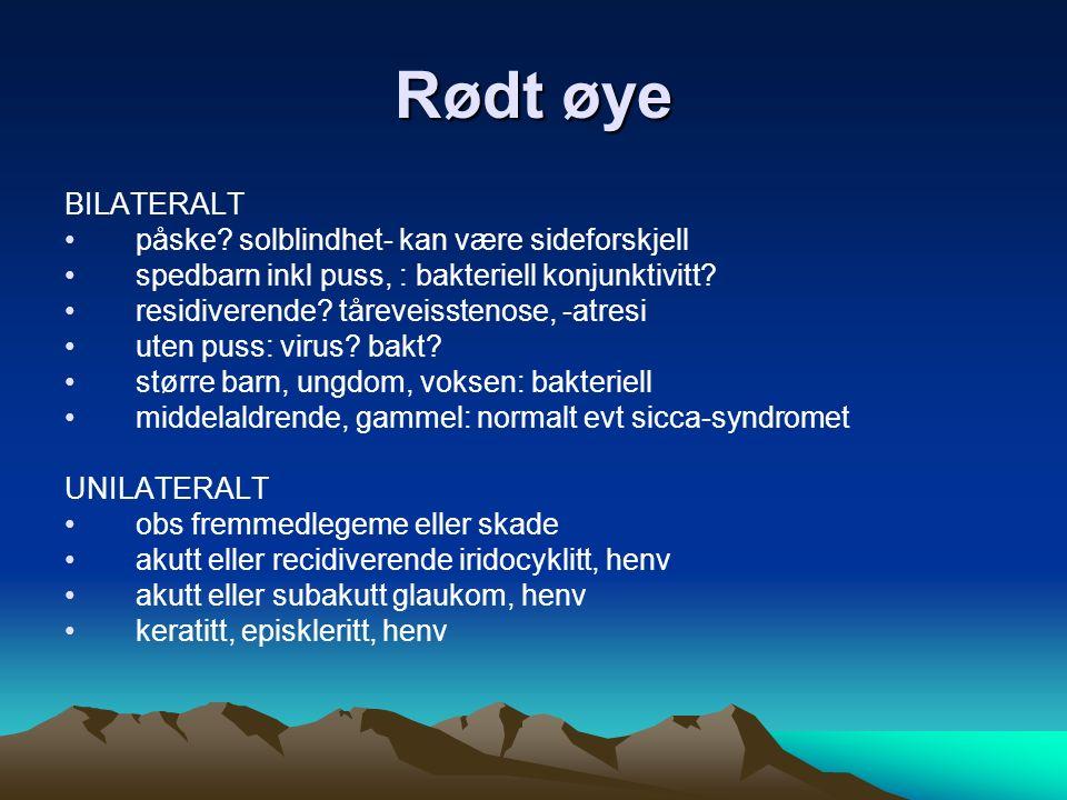 Synstap og –reduksjon PLUTSELIG, ENSIDIG netthinneløsning, henv arteritis temporalis, henv trombose/emboli (øyets blodkar), henv KORTVARIG, ENSIDIG emboli (amaurosis fugax) forvarsel, henv migrene hyppig papillitt, optikusnevritt, ms, henv SNIKENDE, ENSIDIG ELLER BILAT brytn.feil, optiker makuladegenerasjon, henv katarakt diabetes, henv glaukom, henv