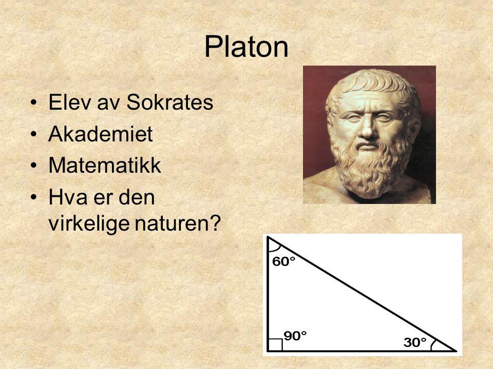 Platon Elev av Sokrates Akademiet Matematikk Hva er den virkelige naturen?