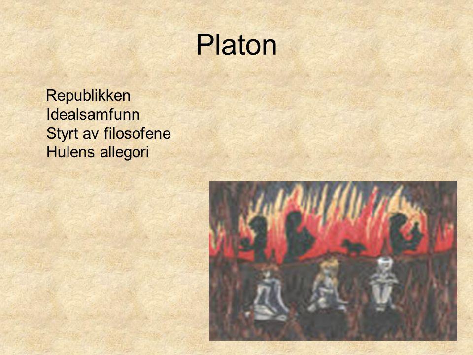 Platon Republikken Idealsamfunn Styrt av filosofene Hulens allegori