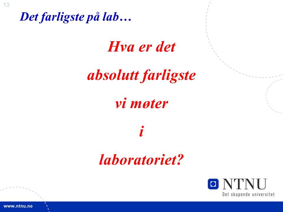 13 Det farligste på lab… Hva er det absolutt farligste vi møter i laboratoriet