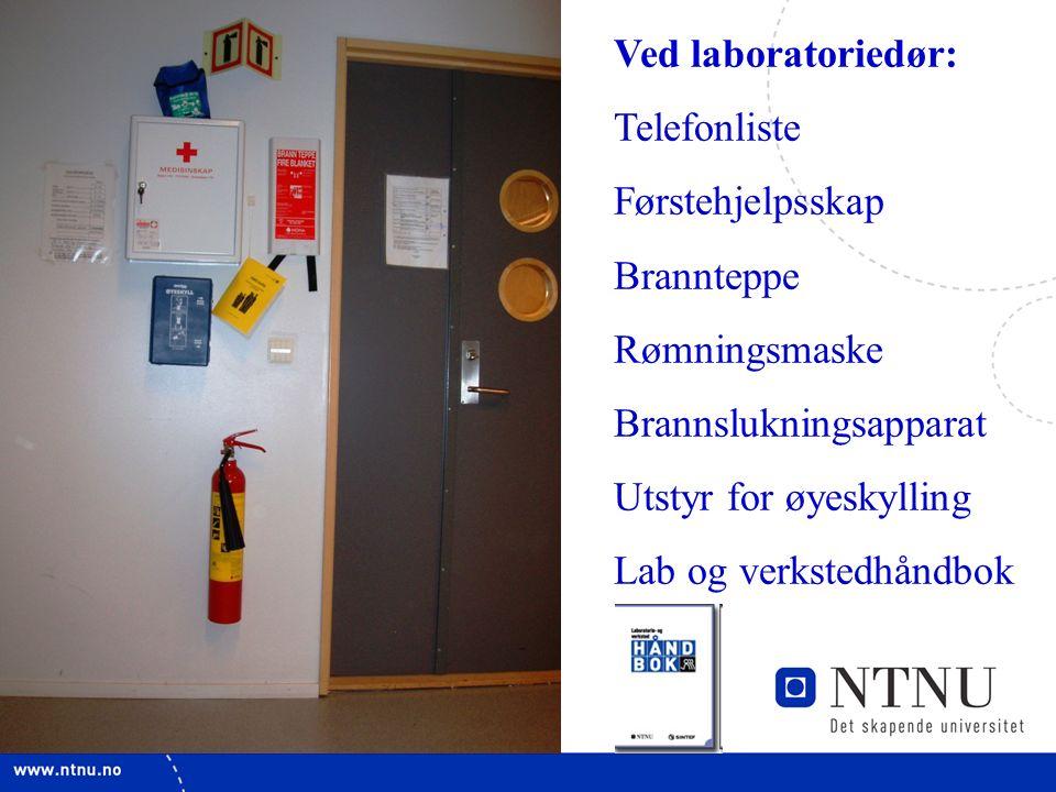 22 Ved laboratoriedør: Telefonliste Førstehjelpsskap Brannteppe Rømningsmaske Brannslukningsapparat Utstyr for øyeskylling Lab og verkstedhåndbok