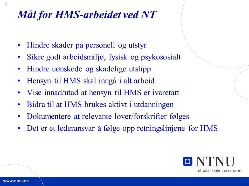 7 HMS – Lover og Forskrifter www.lovdata.no www.arbeidstilsynet.no www.sft.no www.nrpa.no www.dsb.no Mange nyttige informasjonskanaler:
