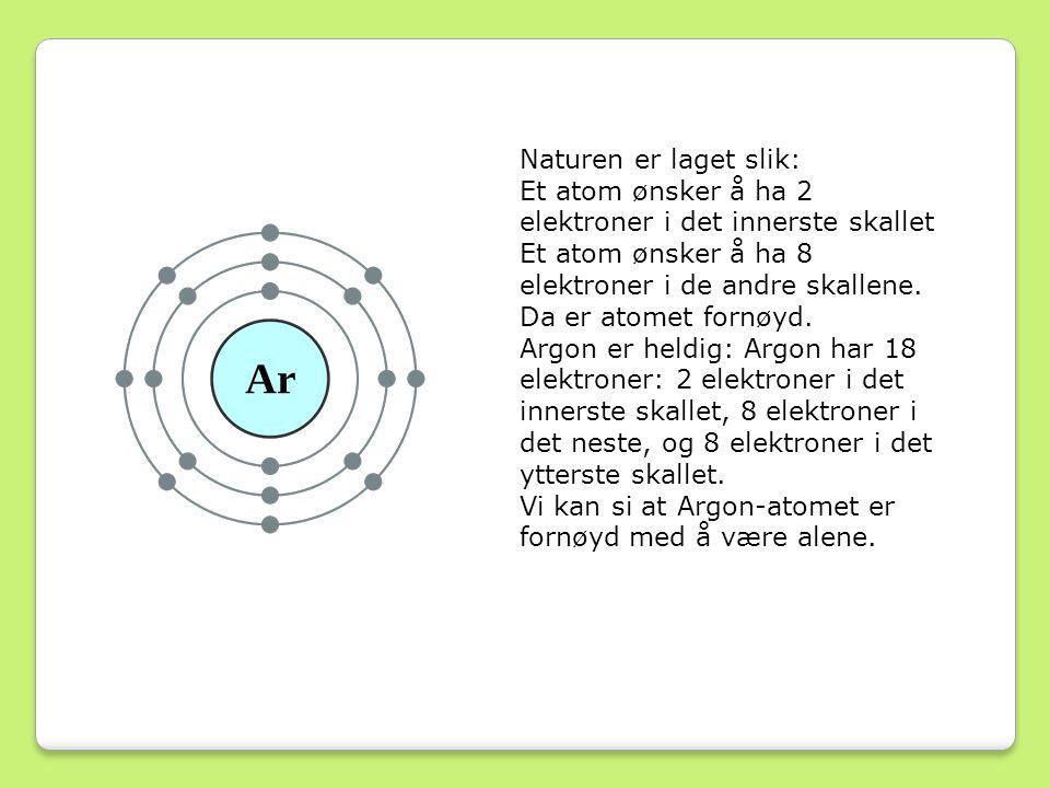 Naturen er laget slik: Et atom ønsker å ha 2 elektroner i det innerste skallet Et atom ønsker å ha 8 elektroner i de andre skallene.