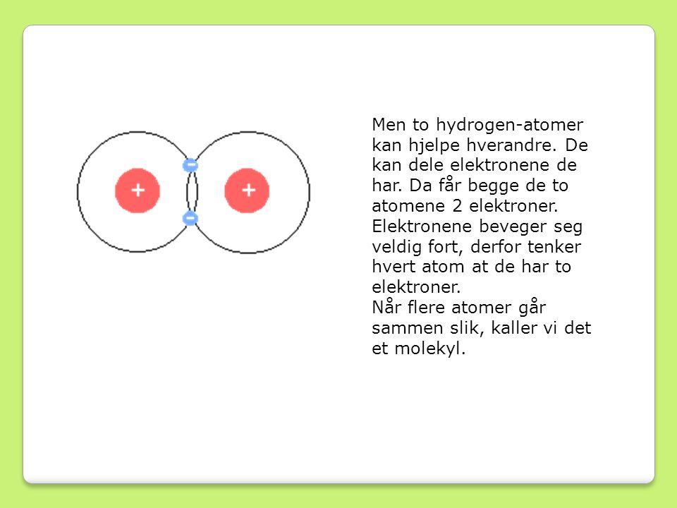 Men to hydrogen-atomer kan hjelpe hverandre.De kan dele elektronene de har.