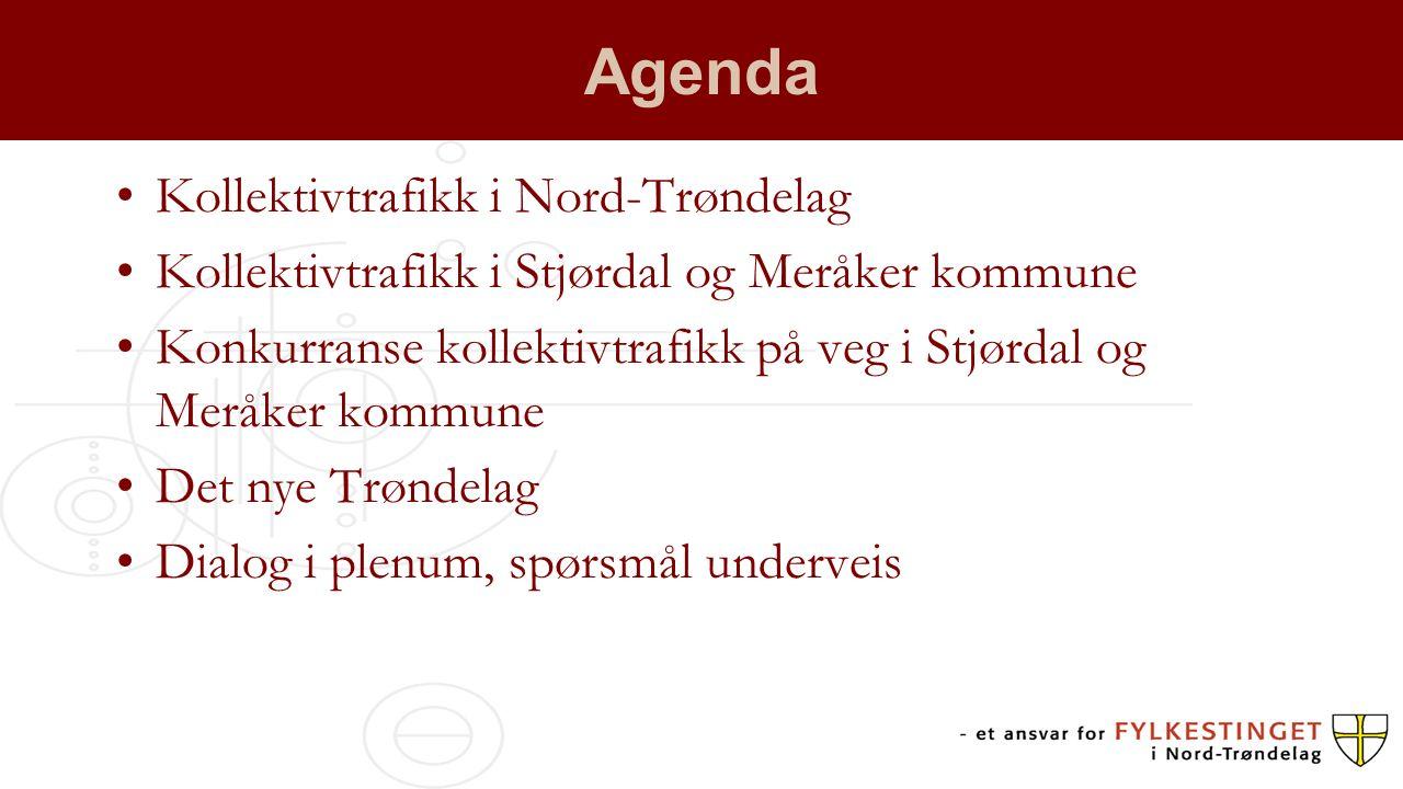 Agenda Kollektivtrafikk i Nord-Trøndelag Kollektivtrafikk i Stjørdal og Meråker kommune Konkurranse kollektivtrafikk på veg i Stjørdal og Meråker komm