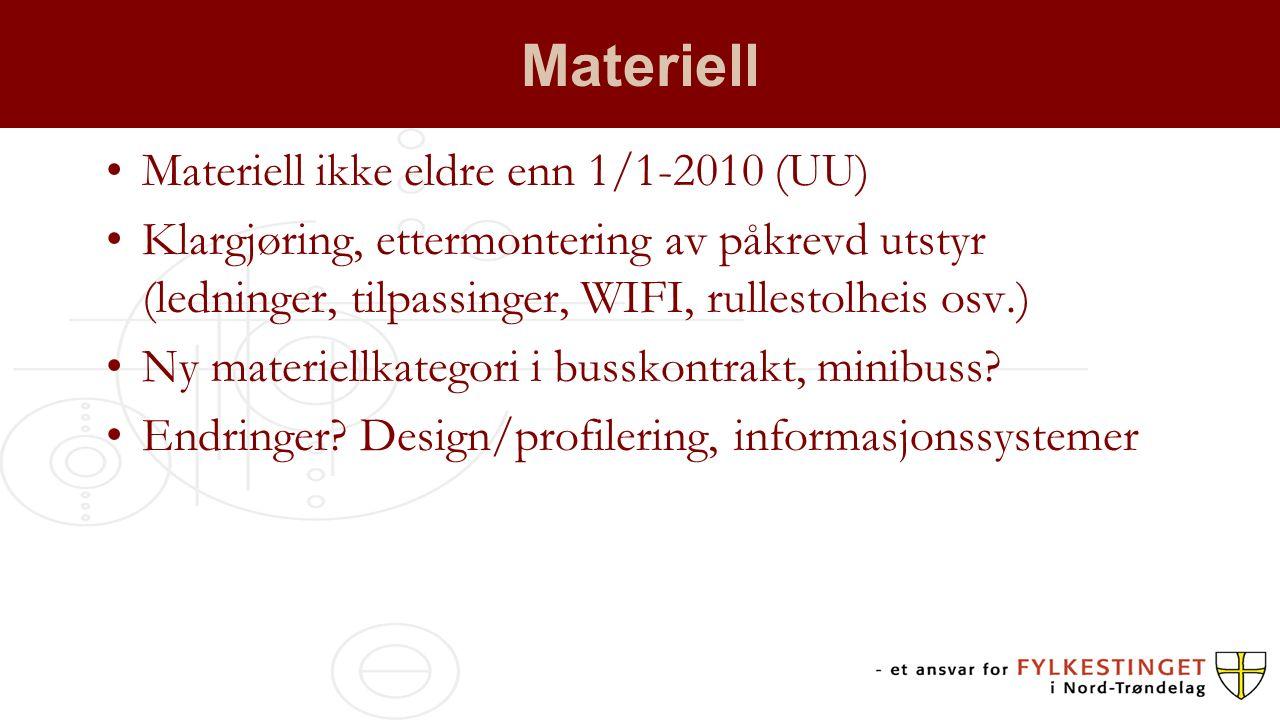 Materiell Materiell ikke eldre enn 1/1-2010 (UU) Klargjøring, ettermontering av påkrevd utstyr (ledninger, tilpassinger, WIFI, rullestolheis osv.) Ny