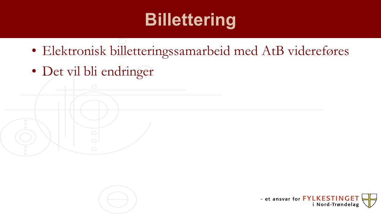 Billettering Elektronisk billetteringssamarbeid med AtB videreføres Det vil bli endringer