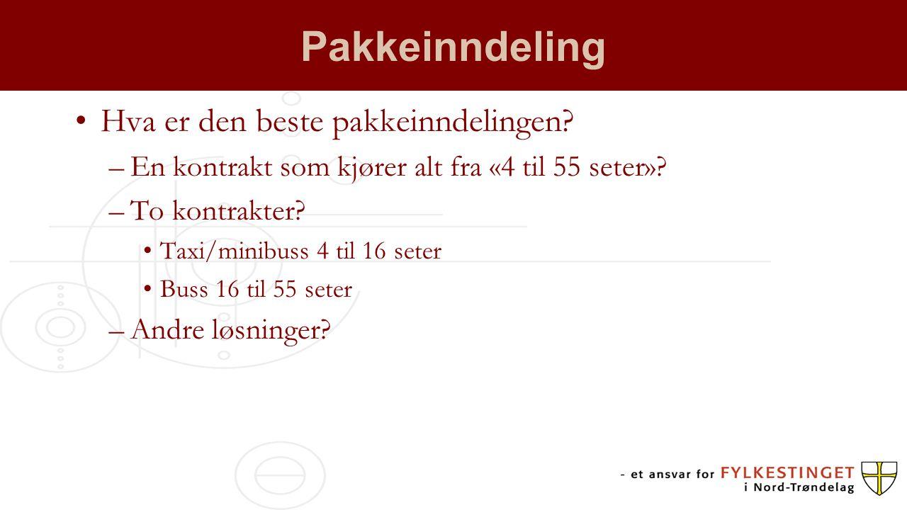 Pakkeinndeling Hva er den beste pakkeinndelingen? –En kontrakt som kjører alt fra «4 til 55 seter»? –To kontrakter? Taxi/minibuss 4 til 16 seter Buss