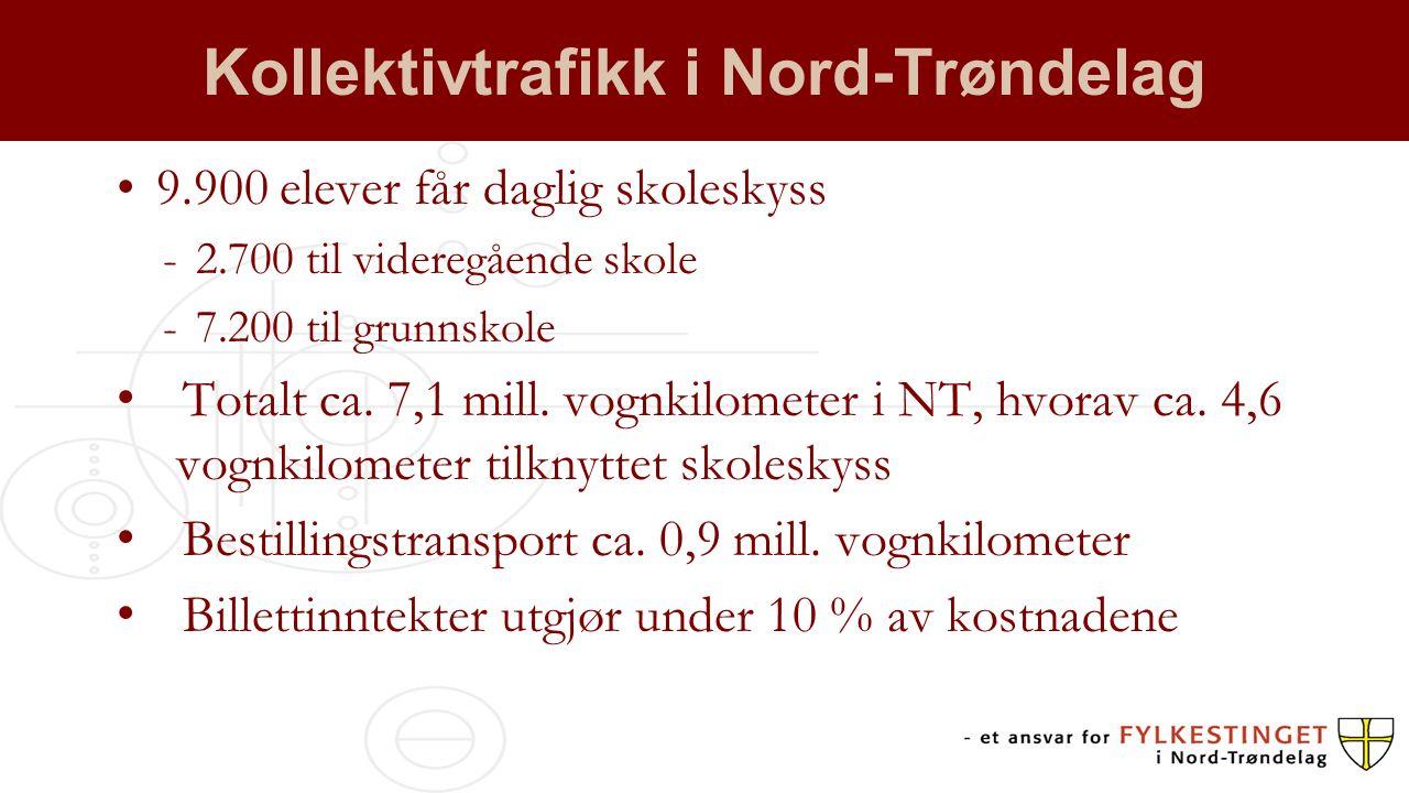 Kollektivtrafikk i Nord-Trøndelag 9.900 elever får daglig skoleskyss -2.700 til videregående skole -7.200 til grunnskole Totalt ca. 7,1 mill. vognkilo