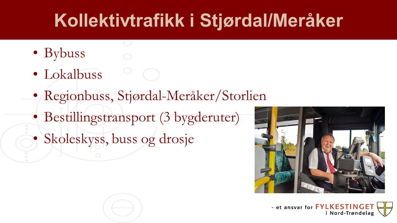 Kollektivtrafikk i Stjørdal/Meråker Bybuss Lokalbuss Regionbuss, Stjørdal-Meråker/Storlien Bestillingstransport (3 bygderuter) Skoleskyss, buss og dro