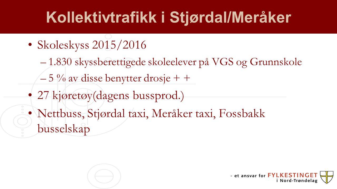 Kollektivtrafikk i Stjørdal/Meråker Skoleskyss 2015/2016 –1.830 skyssberettigede skoleelever på VGS og Grunnskole –5 % av disse benytter drosje + + 27