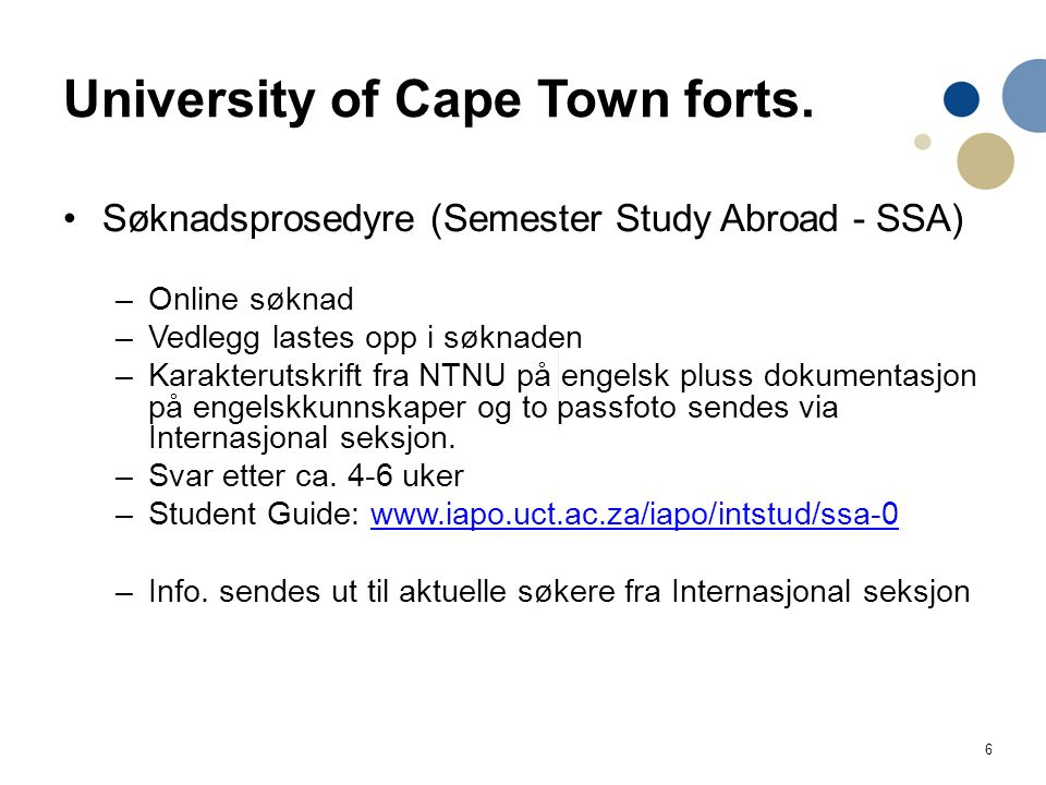 6 University of Cape Town forts.