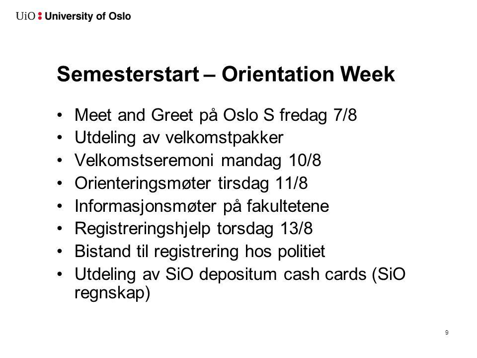 Semesterstart – Orientation Week Meet and Greet på Oslo S fredag 7/8 Utdeling av velkomstpakker Velkomstseremoni mandag 10/8 Orienteringsmøter tirsdag